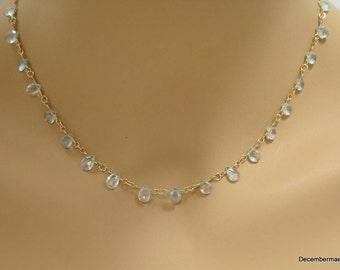 Aquamarine Briolette Necklace in Gold