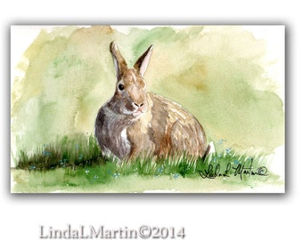 Yard Rabbit  Watercolor Art Original Painting LLMartin