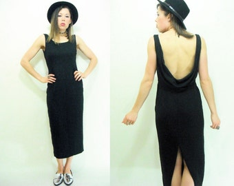 BACKLESS 80's 90's Vintage Black Maxi Dress / Draped Cowl Back