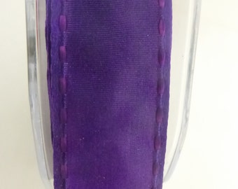 "1"" May Arts Deep Purple Edge Stitched Nylon Satin Ribbon 2 Yards"