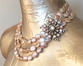 Blush Pearl Bridal Statement Necklace - Vintage Rhinestones, Blush Pink Coin Pearls, 14k Gold - Vintage Wedding Bridal