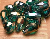 Emerald AB Faceted Crystal Teardrop Beads 12x8mm - 9pc