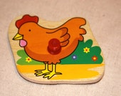 Vintage Wood Puzzle Piece, Farm Chicken Magnet, Charity Piece, Made By Kids 4 Kids, Magnet City