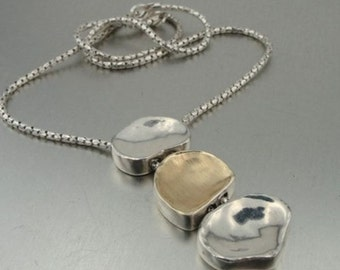 NEW Fine ISRAEL Women Brushed Yellow Gold 925 Silver Necklace - GIFT (I n131)
