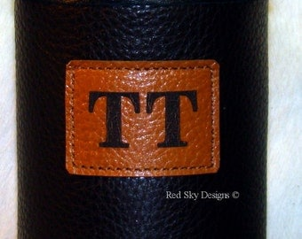 Custom Monogrammed Cowhide Leather Water Bottle/Tall Boy Insulator - Leather or Cowhide Beverage Holder