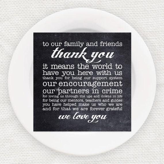 chalkboard wedding reception thank you cards poem instant – Wedding Thank You Card Poems