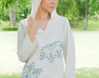 SALE 29 USD--B043--Hoodie blouse with sunflower hand embroidery