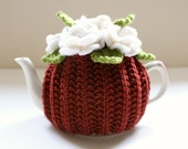 Chestnut Blossom - floral tea cosy in merino wool & cashmere mix - Chestnut Brown - Size SMALL - Ready to Ship