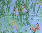 Flowers and Butterflies  Full / Double Flat  Sheet  Recliamed Bed Linens