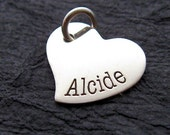 Personalized tiny heart name charm - heart charm - Engraved Charm - Personalized Charm - Name Charm - Silver Jewelry -