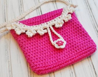 Crocheted Girl's Purse - Crochet Bag - Fashion Purse - Crochet - Yellow - Beige