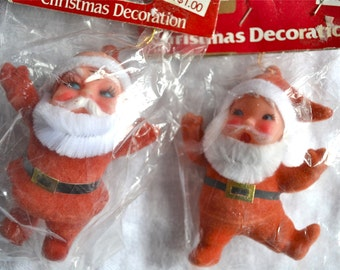 Vintage Christmas Ornaments - Flocked Chenille Plastic Face Santas - Nos Woolworth
