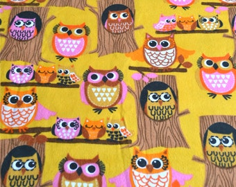 Flannel Fabric - Mod Pink Owls and Yellow - 43 x 42