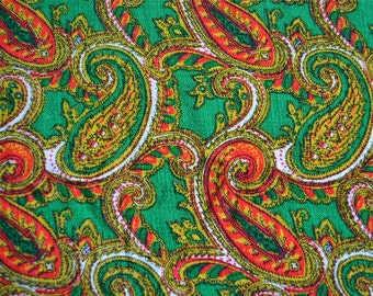 Vintage Fabric - Green and Red Paisley Linen - 41 x 42