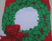 Vintage Christmas Wreath Hanky / Holiday Handkerchief