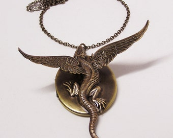 Steampunk Dragon Locket with 22 inch Chain Necklace Pendant