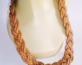 Vintage Necklace Choker Massive 8 Strands Mesh Braided Antique Gold Metal Revival Cleopatra 220 Grams Retro  Brides Runway Statement