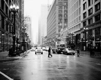 Chicago street photo, fine art, downtown chicago photo, magnificent mile photo, chicago, black and white, decor, city photo, urban, street