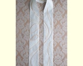 White Christmas Clergy Stole with Madonna and Child -- White on White Silk with Gold Stitching  -- Will ship within 6 weeks