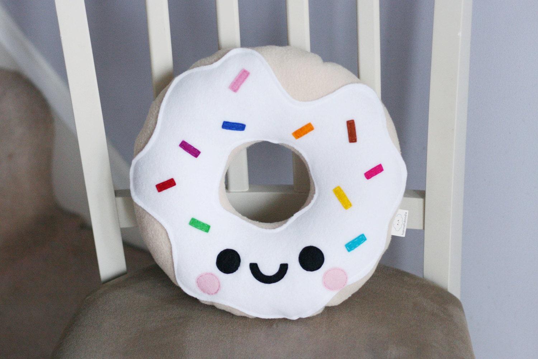 White Vanilla Donut Fleece Plush Pillow Kawaii by hannahdoodle