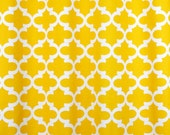 Fabric shower curtain Large geometric print Fynn corn yellow and white cotton or choose other color