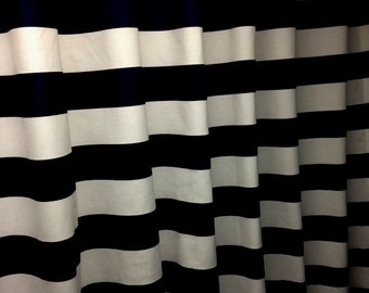 "Black and white horizontal 3"" stripe shower curtain, decorator cotton fabric"