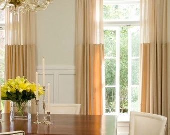 Pair of sheer top linen panels, rod pocket, designer curtains, drapes, beige sheer and wheat color linen