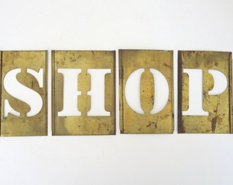 vintage brass stencils ~  shop, big brass stencils. sign letters ~ shop, 4 1/2 inch stencil, word stencils, letter stencils, stencil sign