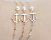 Anchor Bracelets with Swarovski Pearl friendship bracelet Christmas gift bridesmaid gift bridesmaid bracelet Bridesmaid Jewelry Weddings