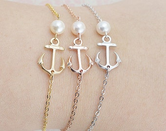 Anchor Bracelets with Swarovski Pearl friendship bracelet Christmas gift bridesmaid gift bridesmaid bracelet Bridesmaid Jewelry Weddings
