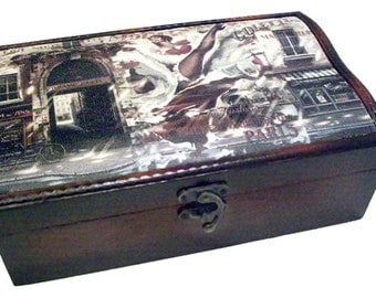 CanCan Madamosielle. Wooden Gift Box With Canvas Print Top Cover
