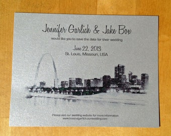 Wedding Save the Date, St. Louis Skyline Save the Date, - Metallic Postcard