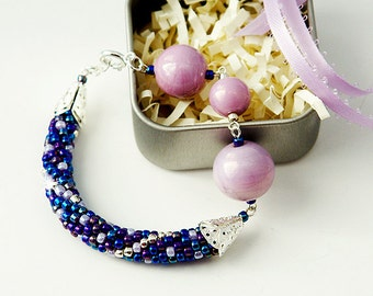 Purple and Pink Seed Bead Crochet Bracelet with Various Ceramic Beads