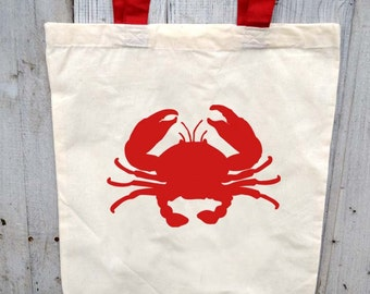 Eco-Friendly Crab Print with Red Handles Reusable Canvas Tote Bag