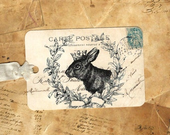 Tags, Vintage Style, Rabbit Tags, by Luvcrystals