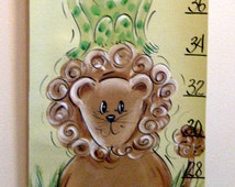 Jungle or Zoo  Animals Hand Painted Canvas Growth Chart