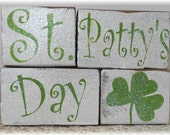 St. Patty's Day Blocks Wood Set Green And White With Glitter