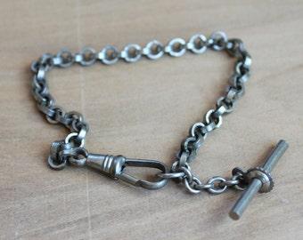 Antique German Silver Watch Chain Charm Bracelet