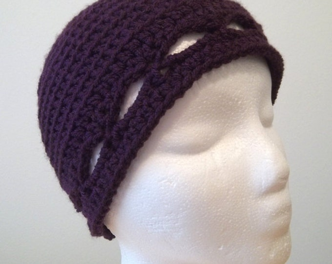Hat - Crochet Clochet for Spring - Color Eggplant