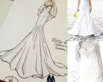 Personalized Wedding Dress Sketch