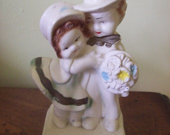 Vintage Chalkware Wedding Couple Figurine Adorable