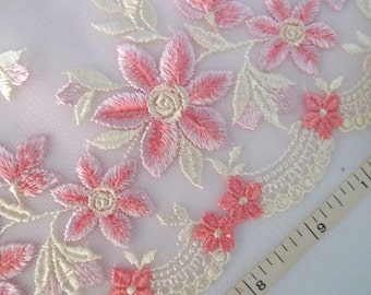 Lace trim, Pink lace, Embroidered tulle lace, Embroidered net fabric, Floral trim, Bridal lace, Lingerie trim, 1 1/2 yard  RD154
