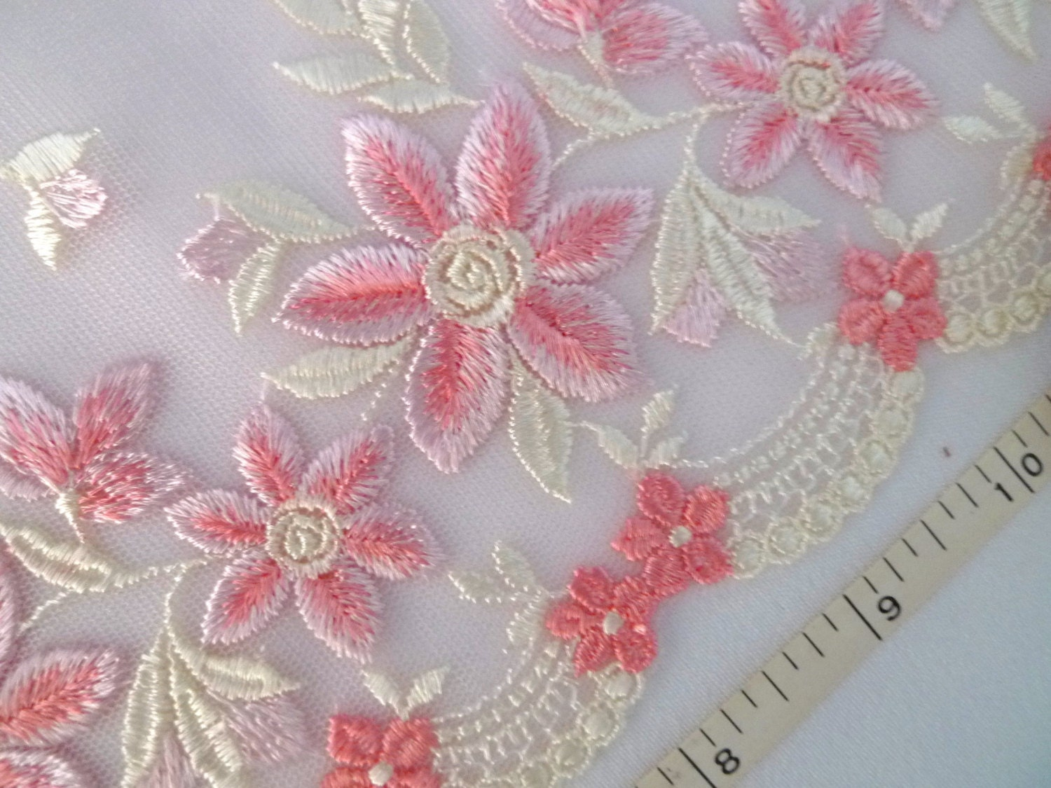 Lace Trim Pink Lace Embroidered Tulle Lace Embroidered