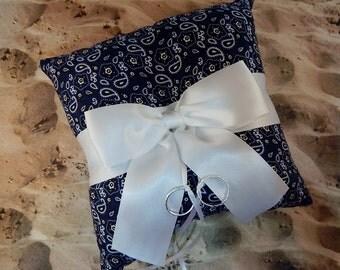 Navy Blue Bandana Handkerchief White Bow Wedding Ring Bearer Pillow