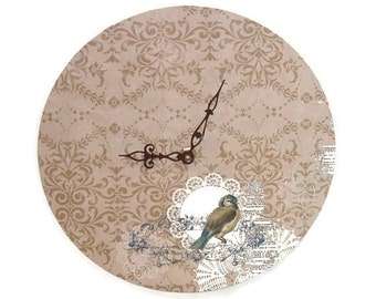 Bird Wall Clock, Tan Damask Doily Wall Clock,  SILENT Clock 10 Inches, Cottage Chic Home Decor - 1583