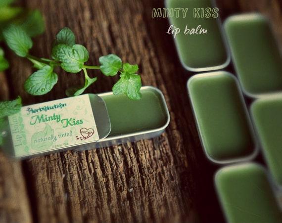 Minty Kiss Organic Lip Balm Refreshing cooling Natural Gloss for luscious lips VEGAN