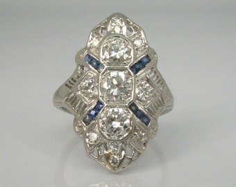 Antique Old European Cut Diamond and Platinum Ring - 1.05 Carats Diamonds with Sapphire Accents -Appraisal Included