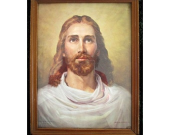 JESUS Of NAZARETH Litho - Hand Colored Print - by Peter Bianchi - Framed - Messenger Corp 1955