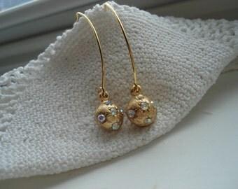 Vintage 1960's Art Deco Textured Gold Ball Drop Rhinestone Earrings Simple Elegant Classic