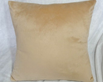 """Tan minky Pillow cover, light brown sham, 14"""", 12x16"""" 16"""", 18 inch, solid color, soft brown pillow"""